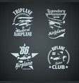 set retro airplanes vintage logotypes vector image