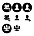 silhouette a men social media icons set vector image