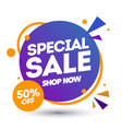 special sale banner design template discount app vector image vector image