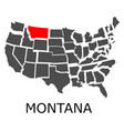 state of montana on map of usa vector image vector image