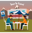 Summer Camp Man and Woman Sitting Near the Camper vector image vector image