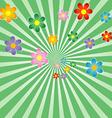 Sunburst background with flowers vector image