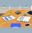 table with business supplies vector image vector image