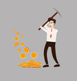 the businessman character holds a pickaxe in his vector image vector image