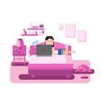 The girl behind the computer lying on sofa vector image vector image