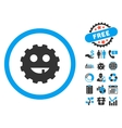 Toothless Gear Smiley Flat Icon with Bonus vector image