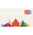 Travel India destination landmarks skyline vector image vector image