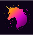 unicorn head silhouette 2 vector image