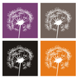 White dandelion silhouette on colorful buttons vector image