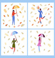 women in autumn clothing set vector image vector image