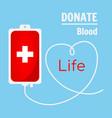 blood donation bag on blue background vector image