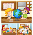 children learning in classroom with teacher vector image