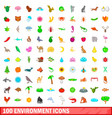 100 environment icons set cartoon style vector image vector image