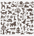 animals doodles set vector image vector image