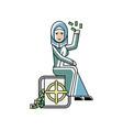 arabic businesswoman sitting on bank safe vector image vector image