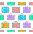 background patterned travel suitcase in a flat vector image