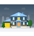 Big house with evening or night landscape vector image vector image
