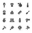 black cosmetics icons set vector image
