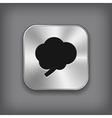 Brain icon - metal app button vector image vector image