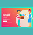 businesswoman welcomes new employee vector image vector image