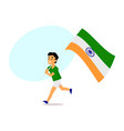 cartoon indian boy running with big indian flag vector image vector image
