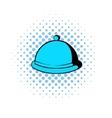 Closed dish comics icon vector image