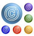 copyright sign icons set vector image
