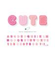 cute cartoon pink font cotton texture alphabet vector image vector image