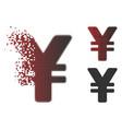 damaged pixelated halftone japanese yen icon vector image vector image