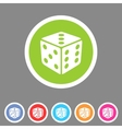 Dice game cube icon flat web sign symbol logo vector image