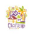 exotic logo template original design summer vector image vector image