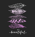 feather for t-shirt print with lettering vector image vector image