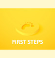 first steps isometric icon isolated on color vector image