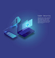 flat isometric digital cyber security concept vector image