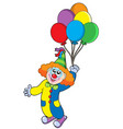 flying clown with balloons vector image vector image