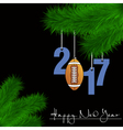 Football ball and 2017 on a Christmas tree branch vector image vector image