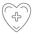 heart with cross thin line icon medicine and vector image vector image