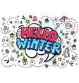 hello winter word bubble vector image vector image