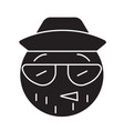 hipster emoji black concept icon hipster vector image vector image