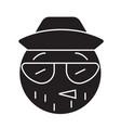 hipster emoji black concept icon hipster vector image
