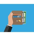 human hands holding opened wallet vector image vector image