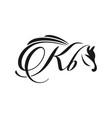 initials horse logo design kb vector image vector image