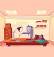 jeweler workplace with work tools cartoon vector image