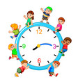 kids playing on giant clock vector image