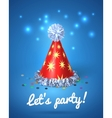 Lets party poster with red hat and stars vector image vector image