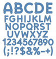 letters numbers and signs denim vector image vector image