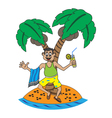 man resting on the island vector image vector image