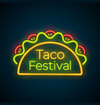 mexican tacos food bar neon light sign logo vector image vector image