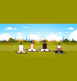 mix race people sitting lotus position doing sport vector image vector image