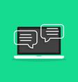 online chatting in cartoon laptop vector image vector image